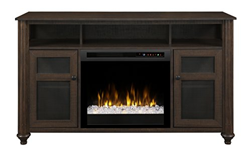 Dimplex Electric Fireplace, Media Console, TV Stand and Entertainment Center with Multiple Storage Cabinets and Glass Ember Bed in Warm Brown Finish - Xavier #GDS23G8-1904GB ()