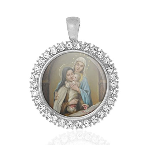 St Therese Of Lisieux Our Lady Baby Jesus Religious Round Medal Silver Tone Pendant with (St Therese Infant Jesus)