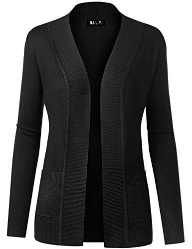 BILY Women Open Front Long Sleeve Classic Knit Cardigan Black Small