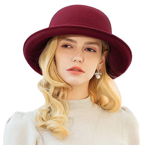 (F FADVES Women's Upturn Brim Bowler Wool Hat Casual Warm Fedora Hats Red)