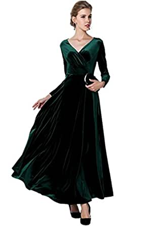 medeshe womens emerald green christmas long velvet maxi
