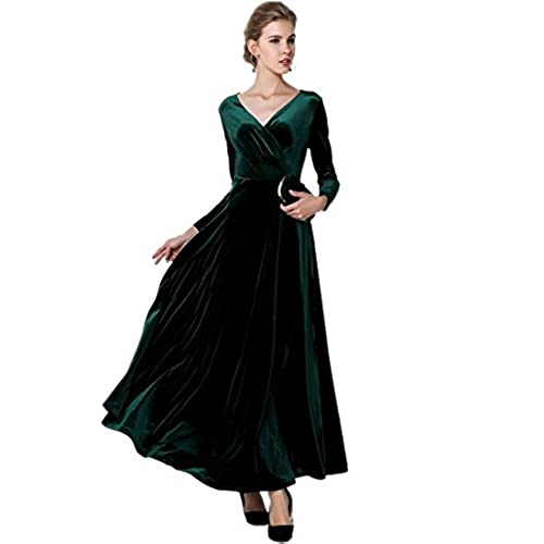 medeshe womens emerald green christmas long velvet maxi dress 1416 - Green Christmas Dress
