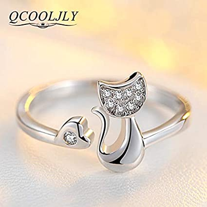 JEWH Rose Gold/Silver Color Cat Shape Wedding Engagement Adjustable Ring for Women - CZ