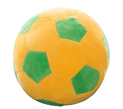 Stuffed Short Plush Soft Soccer Ball Cushion Football Decorative Pillow Toy for Kids (Green-Yellow, 23cm)