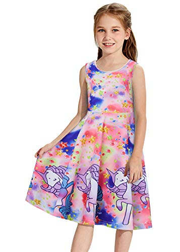 Unicorn Dresses for Girls 7-8 3D Printing Galaxy Starry Skater Princess Fancy Swing A-Line Colorful Diamond Wiggles Clothes Adorable Pegasus Costume Beautiful Sun Star Shirts for Primary School Kids
