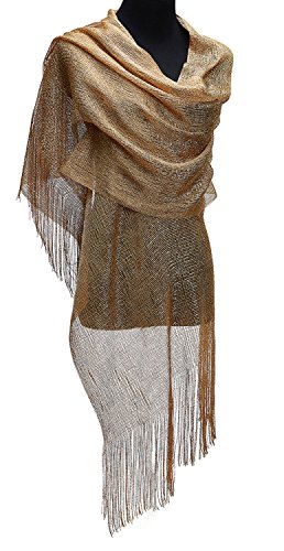 KaKaxi Sheer Glitter Sparkle Piano Shawl Wrap with Fringe Prom Weddings Evening Scarfs,1920s Gatsby Vintage Style,Gold