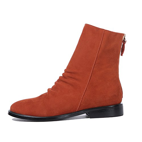 amp; Women's Orange Zipper Casual Boots Slouchy Ladies Block Cow Back Gianni Booties Suede Short Leather Low Darco Ankle Heel CHwEdxd