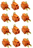 New MTN-G 12PK Ground Plug Adapter 3 Prong to 2 AC Electrical Outlet Grounding Polarized