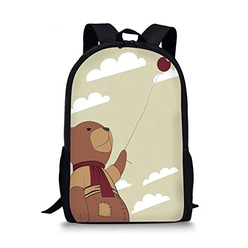 School Bags Cartoon,A Melancholic Teddy Bear with Scarf Holding a Balloon Clouds in the Sky Clipart,Beige Cinnamon for Boys&Girls Mens Sport Daypack]()