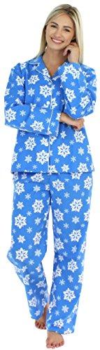 PajamaMania Women's Sleepwear Flannel Long Sleeve Pajamas PJ Set- Blue Snowflake