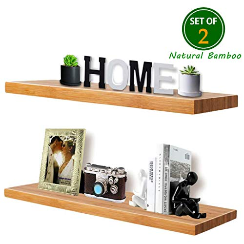 "Wall Shelf Set of 2,Natural Bamboo Floating Shelves,Wall Mount Decorative Wood Shelf,Wide Wooden Wall Display Shelves,Space Saving,Waterproof, Easy to Mounting (Natural Bamboo Colour, 16"" x 5.7"")"