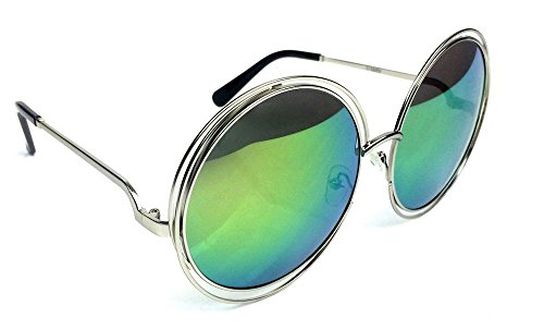 Details about XXL Halo Double Wire Oversized Big Round ROXANNE Bohemian Coachella - Lo Green Brand Sunglasses Cee