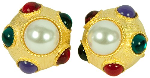 - KENNETH JAY LANE, SATIN GOLD ROUND PEARL CLIP EARRING WITH CABOCHON ACCENTS