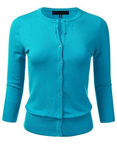 Women's Button Down 3/4 Sleeve Crew Neck Knit Cardigan Sweater Turquoise S