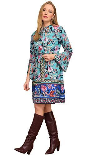 Robe Idees Imprimée Manches Femme 101 Longues Bleu Ixw6d1qT5y