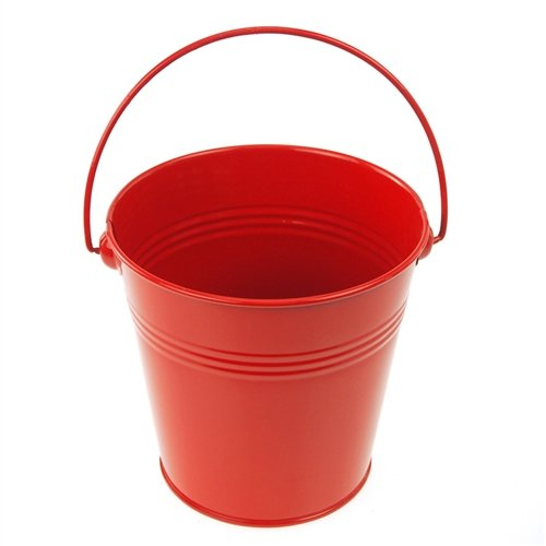 Homeford Firefly Imports Metal Pail Buckets Party Favor, 5-Inch, Red, ()