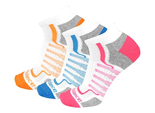 New Balance Women's Performance Low Cut Tab Socks (3 Pack), White/Pink/Orange/Teal, Size 6-10