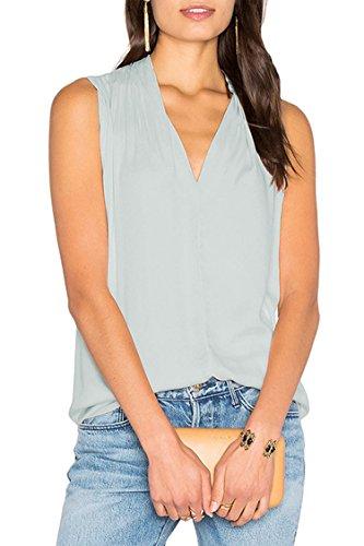 New 2017 Women V Neck Sleeveless Shirt Blouse Comfort Tank Tops Gray (Satin Sleeveless Blouse)