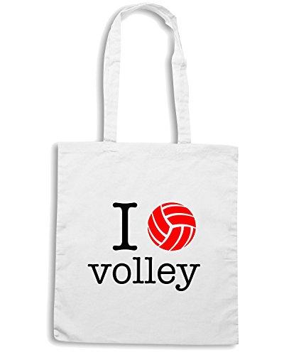 T-Shirtshock - Bolsa para la compra T0140 i love volley Blanco