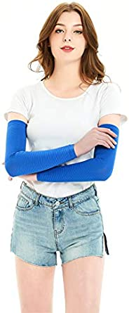 Women Compression Arm Sleeves Cooling UV Arm Warmers Stripe Arm Cover