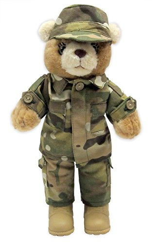 Female Stuffed Plush Teddy Bear in Military Multicam Uniform ()