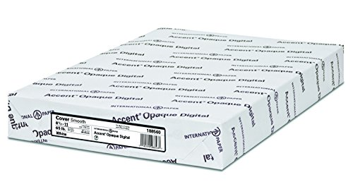 Accent Opaque, Smooth Cover White, 65lb, Letter, 8.5 x 11, 97 Bright, 250 Sheets / 1 Ream, (188560R) Made in The USA by Accent