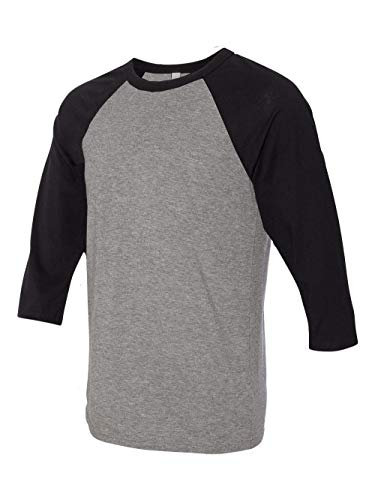 Bella 3200 Unisex 3 By 4 Sleeve Baseball Tee - Deep Heather & Black, Medium