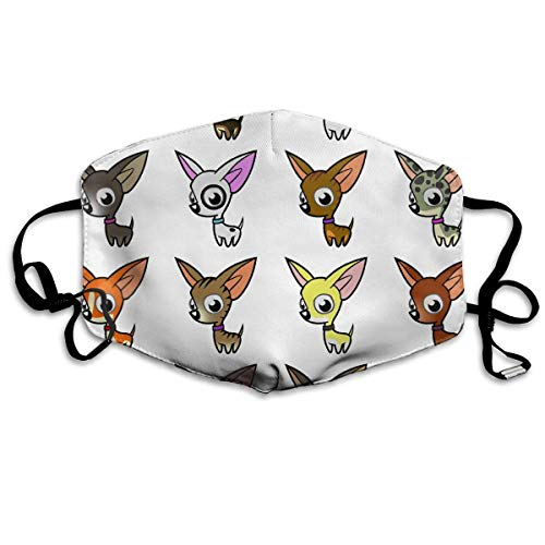 CAOBOO Anti-Dust Mask Reusable Mask for Men and Women Cute Cartoon Chihuahuas Mouth Mask Unisex