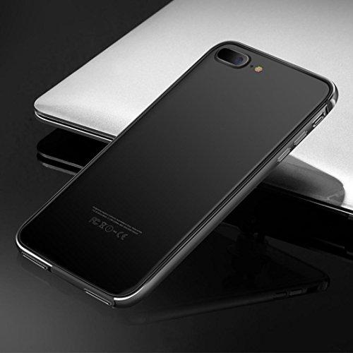 Anshinto Clear Hard Plastic Back+Aluminum Metallic Bumper Case Cover for iPhone 7 & 7 Plus (Black, for iPhone 7 Plus)