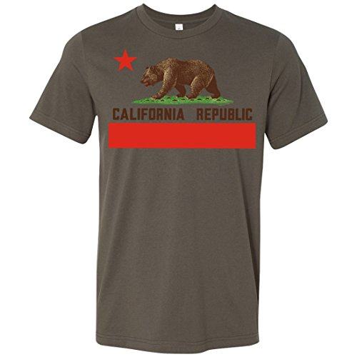 California Republic Bear Flag Brown Text Mens Fitted T-Shirt/tee - Army Large