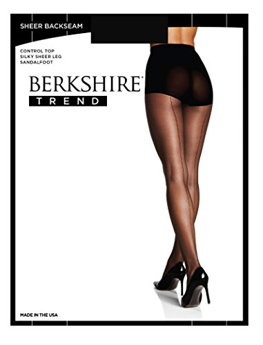 Pantyhose Sheer Berkshire (Berkshire Women's Sheer Backseam with Control Top, Fantasy Black, 1X-2X)