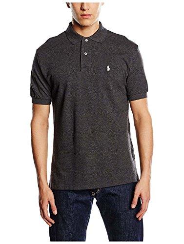 Polo Ralph Lauren Mens Classic-Fit Mesh Short Sleeve Polo (BlackHtrWhitePny, -