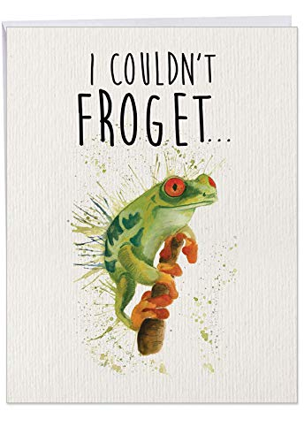 """J2954FBDG Jumbo Birthday Card: WILDLIFE EXPRESSIONS, Featuring a Watercolor Depiction of a Frog with a Cute Birthday Saying; With Envelope (Extra Large Size: 8.5"""" x 11"""")"""