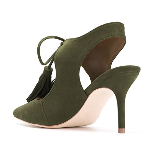outlet best sale YDN Women Sexy Pointed Toe Low Heel Pumps Slingback Lace-up Stilettos Dress Shoes With Tassels Dark Green outlet 2015 best seller online 6fk9P5D