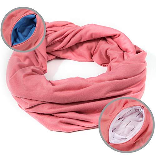 Ready + Steady - RFID Travel Scarf, Infinity Scarf, 2 Hidden Zipper Pockets (Dirty Pink)