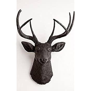 White Faux Taxidermy The Ignatius Black Resin Deer Head Wall Decor