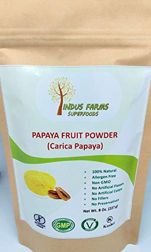 100% Natural Papaya Powder, 8 oz, Eco-friendly Resealable pouch, No Artificial Flavors/Preservatives/Fillers, Halal, Kosher, Vegan-Friendly, Non-GMO (Papaya Fruit Extract)