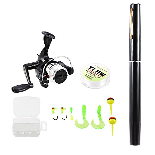lixada Pen Fishing Rod and Reel Combo Set Mini Telescopic Pocket Fishing Rod Spinning Reel Fishing Line Soft Lures Baits Jig Hooks