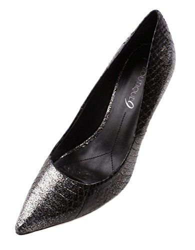 Boutique 9 by Nine West Sally Womens Black/Silver Leather High Heel Shoes Q6qxRQ