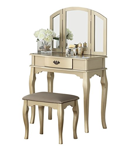 (BOBKONA F4070 Jaden Collection Vanity Set with Stool, Champagne)