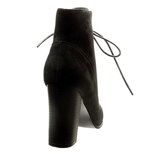 Angkorly - Zapatillas de Moda Botines altas mujer cordones Talón Tacón ancho alto 9.5 CM - Negro