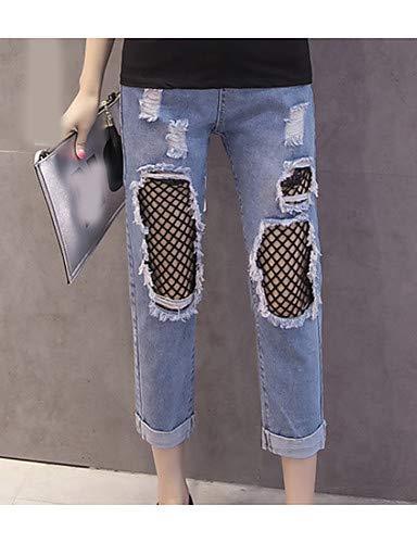 Trou Jeans De Hiver Unie Pantalon Sortir YFLTZ Blue Couleur Femme gtw75Iqx