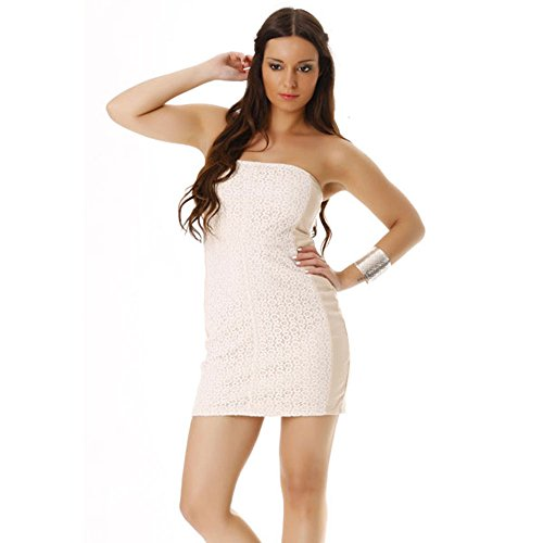 Miss Wear Line Damen Bustier Kleid Beige Beige