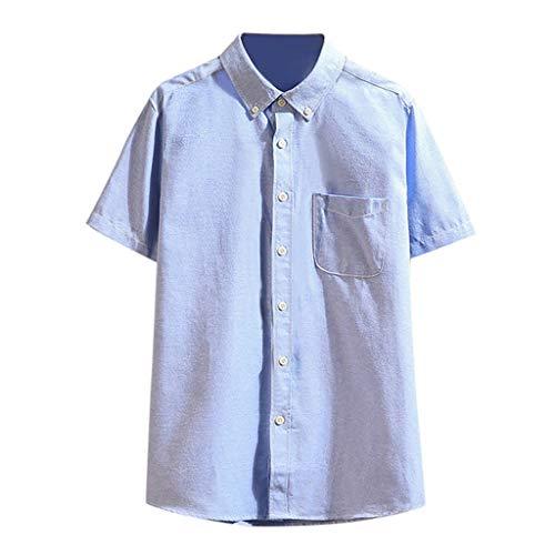 (TOPUNDER Men Summer Pocket Buttons Casual Patchwork T-Shirt Short Sleeve Shirt Blue)