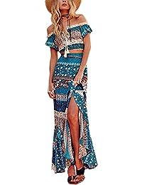NANYUAYA Women Bohemian Off Shoulder Crop Top Maxi Skirt 2 Piece Outfit
