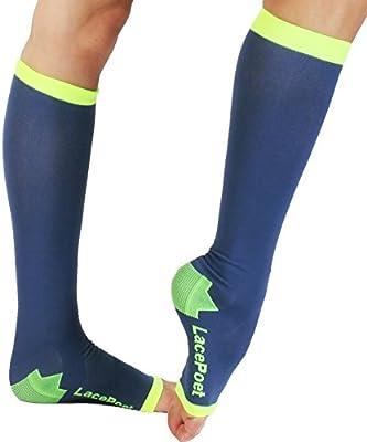 646d6eb7c Amazon.com: Lace Poet Knee-High Yoga/Sleep Compression Toeless Socks  (Mystic Blue, Medium): Sports & Outdoors