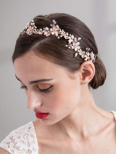 SWEETV Rose Gold Bridal Headband Tiara, Wedding Hair Vine Head Piece Handmade Pearl Women Hair Accessories