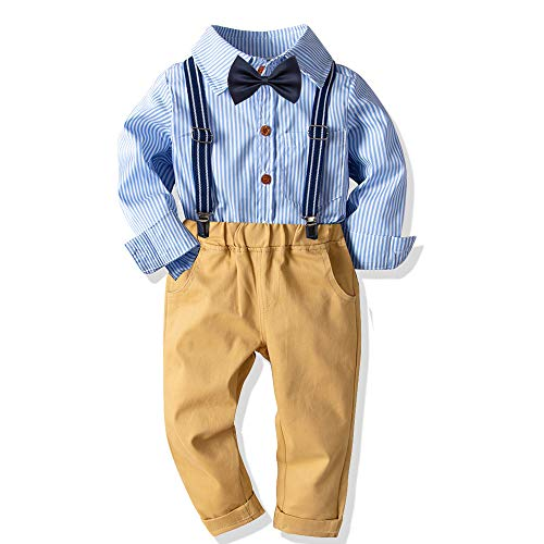 Baby Boys Fashion Gentleman Pants Clothing Set Long Sleeves Shirt+Suspender Colorful Pants+Bow Tie Toddler 4Pcs Set (Blue Stripe, 5-6T/120)