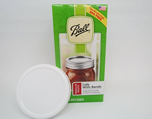 Ball Regular Canning Mason Jar Lids and Rings, 1 dozen (or 12 lids and 12 bands total) Plus combined with One (1 cap only) Ball Plastic Regular Cap. by Ball (Image #5)