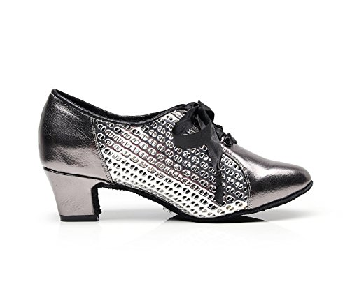 MINITOO Shoes UK Pumps 5 Ballroom Low Mesh Lace Latin Ladies Grey 5 Synthetic Evening Chunky Heel up Dancing rwprq61